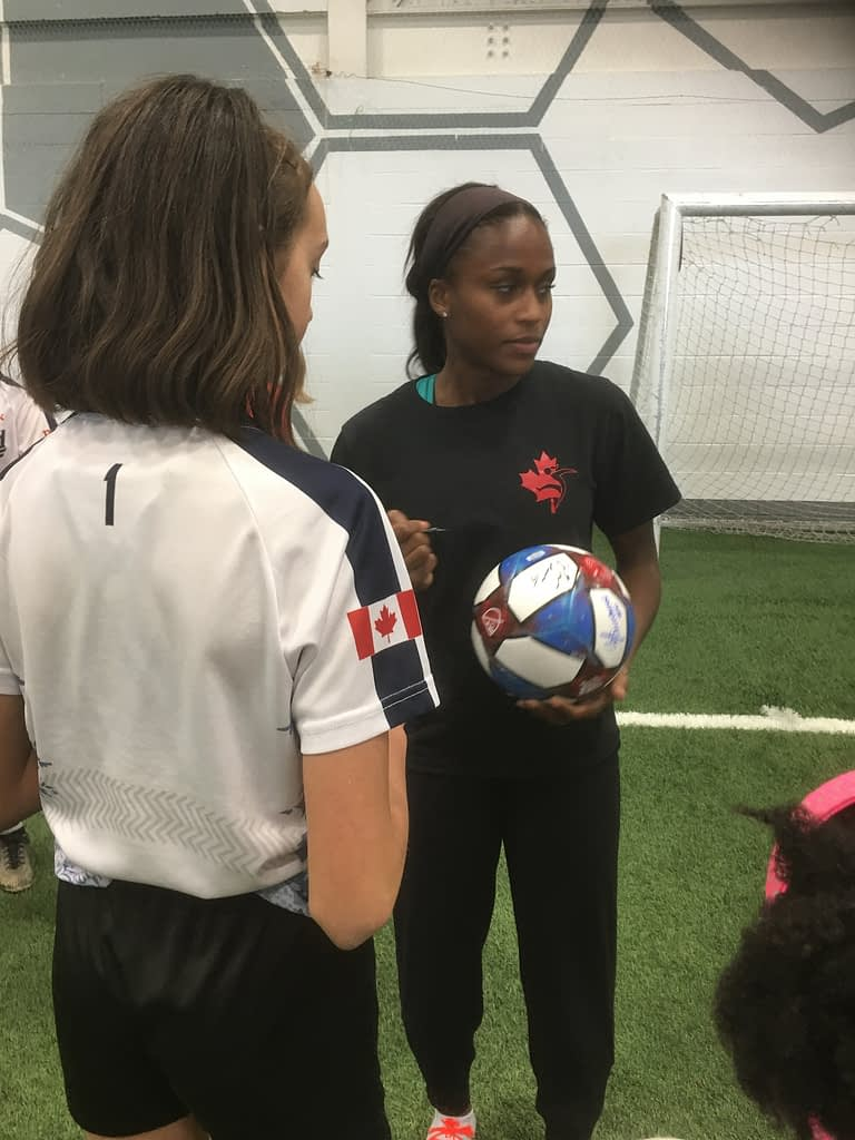 """Toronto Blizzard players with Ashley Lawrence at """"Yes She Canada"""""""