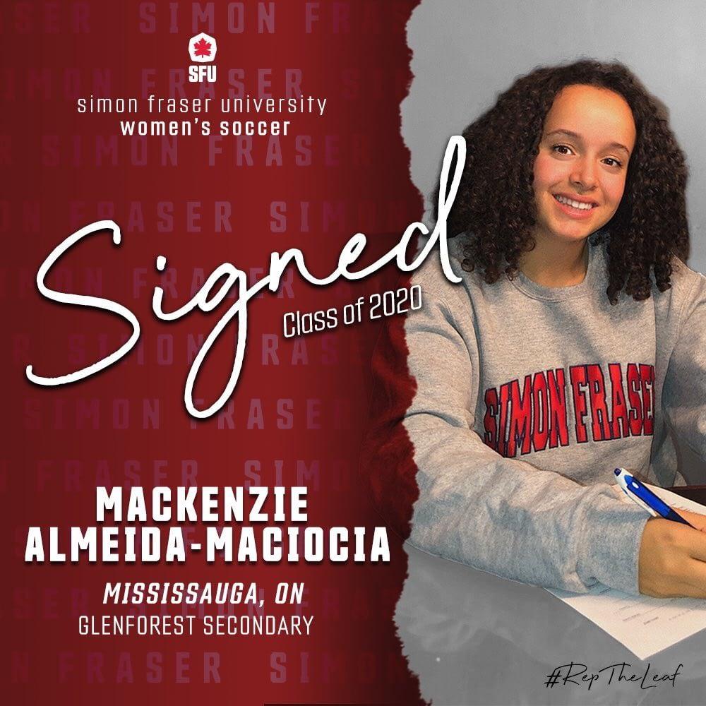 Mackenzie Almeida-Maciocia signs her NLI with SFU Women's Soccer